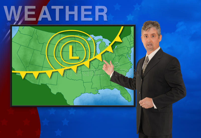 TV news weather meteorologist anchorman reporting. A tv television news weather meteorologist anchorman is reporting with a colorful background and weather stock photography