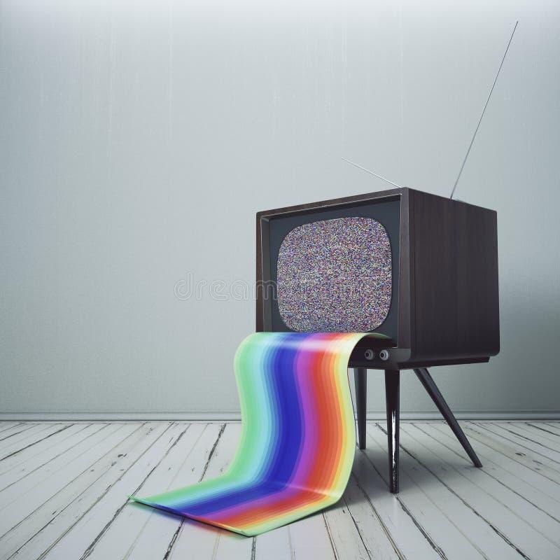 Download TV Obsoleta Con La Lengua Del Arco Iris Stock de ilustración - Ilustración de concreto, colorido: 100525535