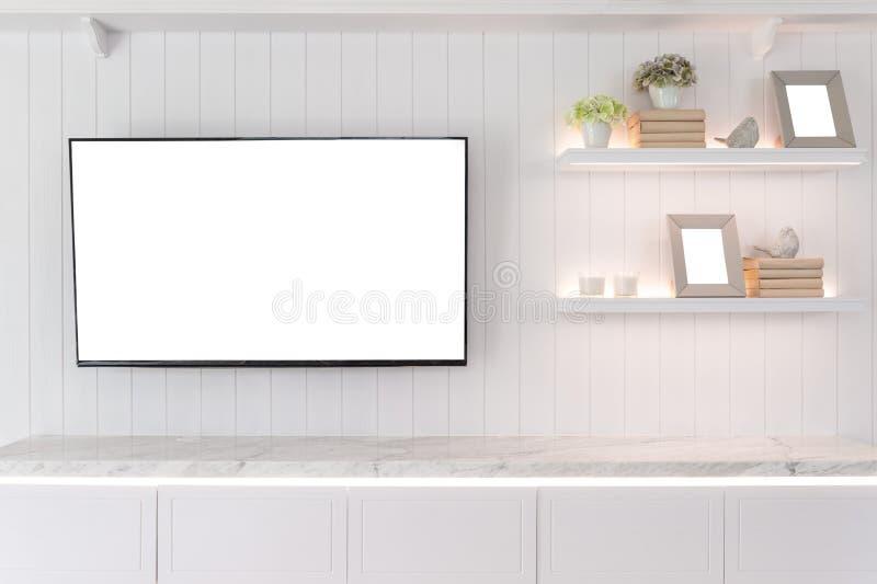 TV och hylla i modern stil för vardagsrum Wood möblemang I royaltyfria bilder