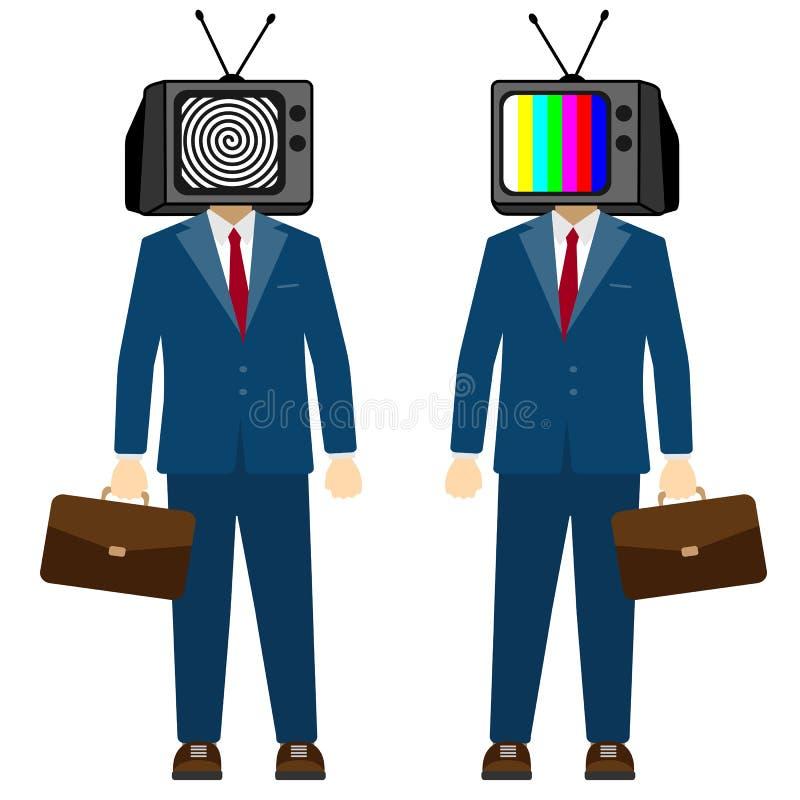 TV op de hoofdmens Televisiepropaganda, vals nieuws Zakenmankarakter, vector vector illustratie