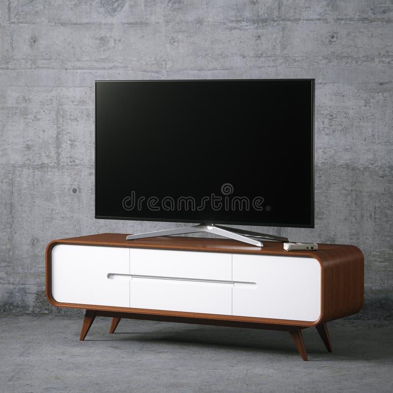 TV op uitstekende houten TV-tribune in concreet binnenland royalty-vrije stock afbeelding