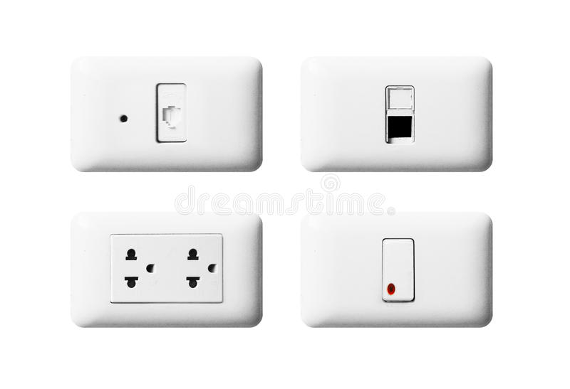 TV Outlet, Cable Outlet, Electronic Plug Switch On White Wall Stock ...