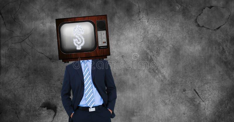 TV på huvudet för affärsman` s med dollartecknet på skärmen arkivbild