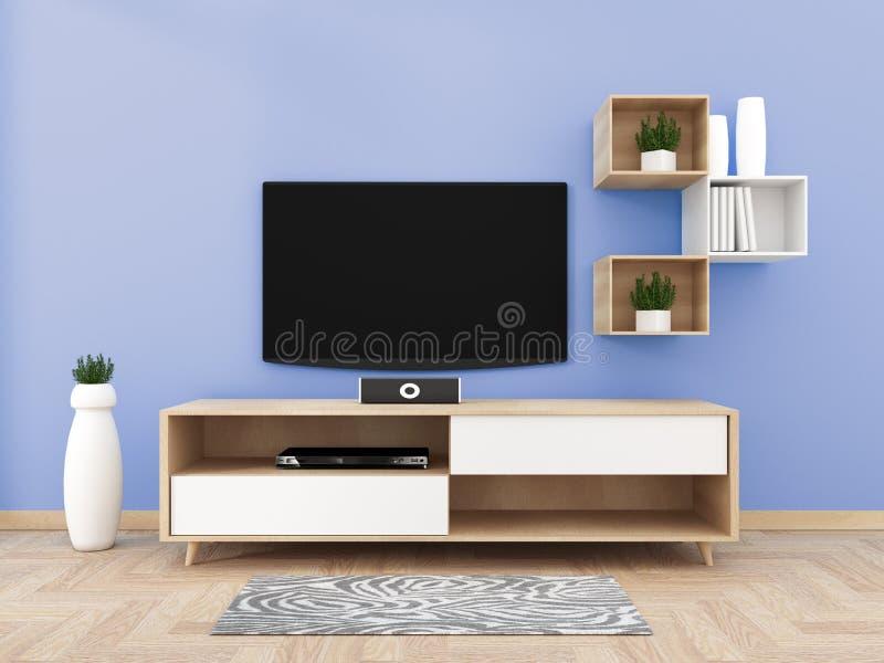 TV på kabinettet i modern vardagsrum på blå väggbakgrund, tolkning 3d stock illustrationer