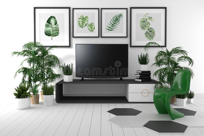 TV på kabinettet i tropisk vardagsrum på vit väggbakgrund, tolkning 3d royaltyfri illustrationer