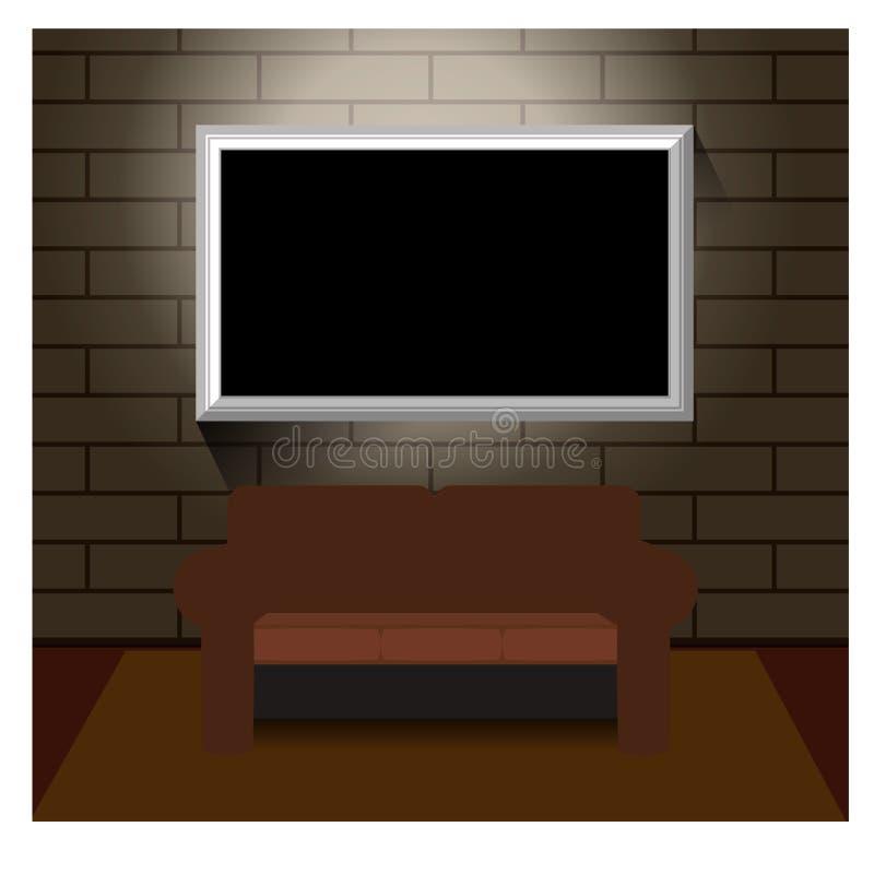TV på väggtegelsten royaltyfri illustrationer