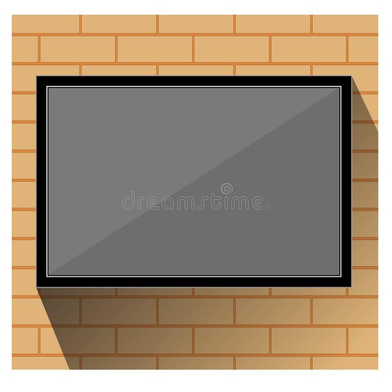 TV på väggtegelsten stock illustrationer