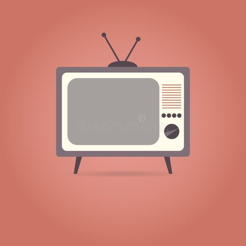 TV płaska ikona na czerwonym tle ilustracja wektor