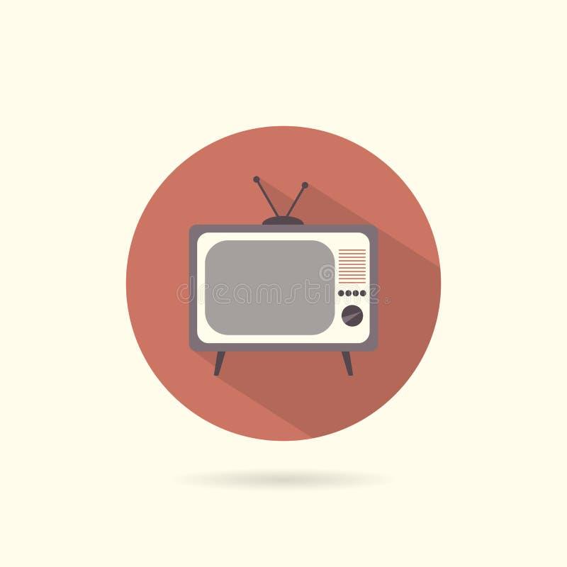 TV płaska round ikona ilustracji