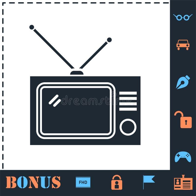 TV icon flat royalty free illustration
