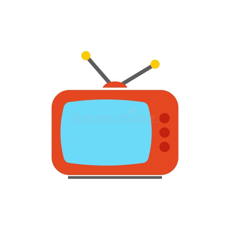 TV-pictogram - het televisiescherm - vermaaksymbool - vlakke vectordieillustratie op witte achtergrond wordt geïsoleerd royalty-vrije illustratie