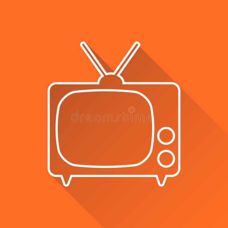 TV-Pictogram vectordieillustratie in lijnstijl op oranje bac wordt geïsoleerd stock illustratie