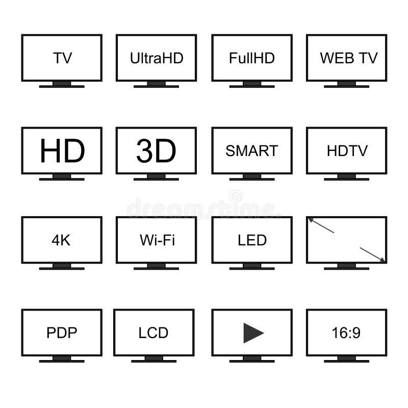 TV-pictogrammen vectorreeks royalty-vrije illustratie