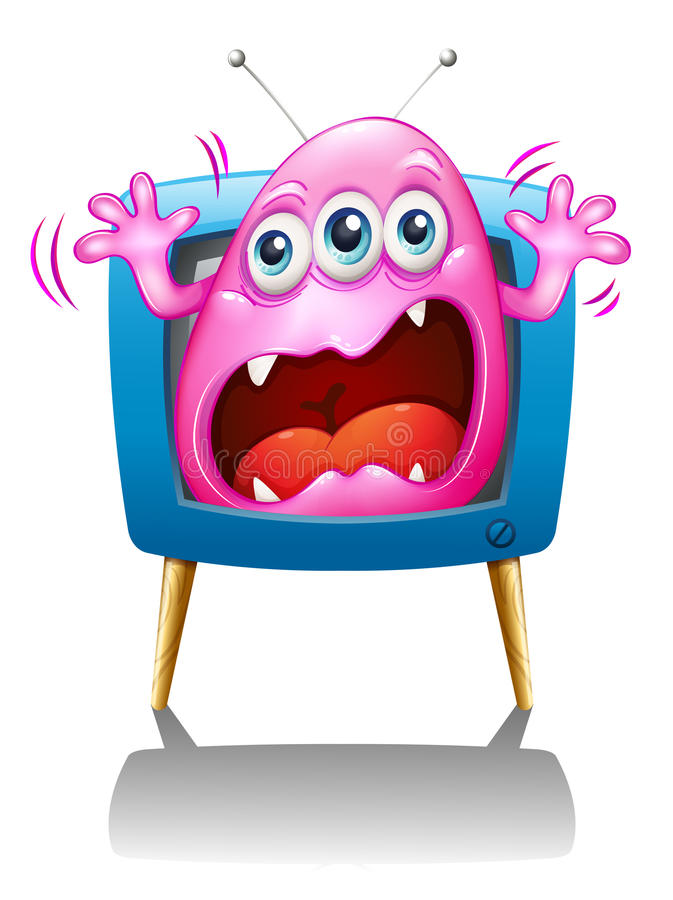 A TV with a pink monster screaming vector illustration