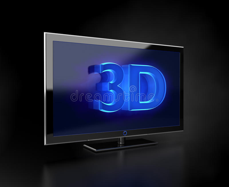 TV plana - concepto de 3D HD libre illustration