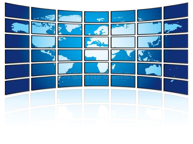 Download TV Plasma Wall With World Map Stock Vector - Illustration of floor, digital: 7682668