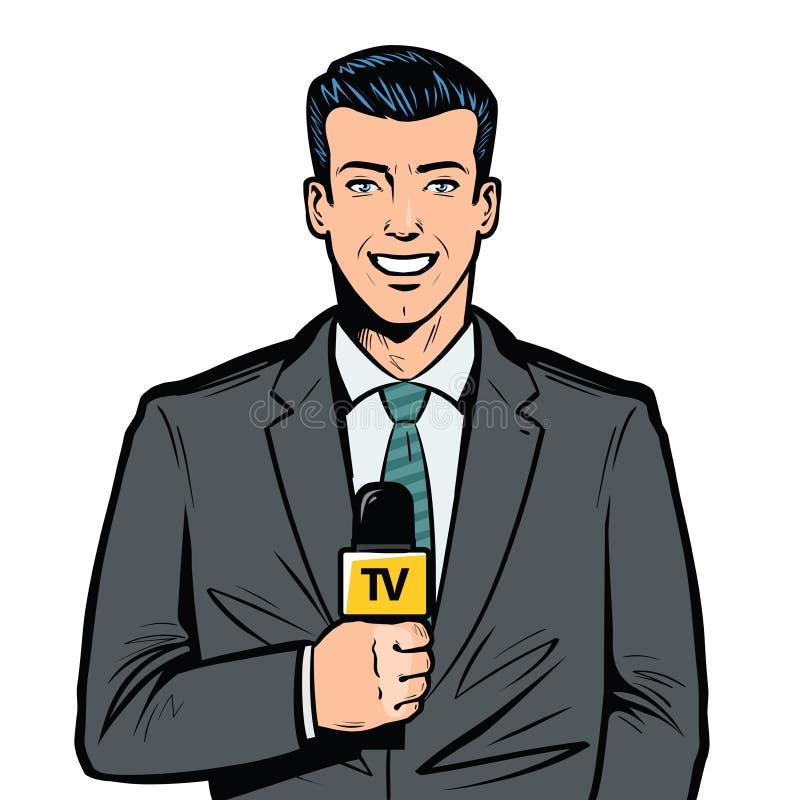 TV-presentator met in hand microfoon Brekend nieuws, uitzendingsconcept Pop-art retro illustratie royalty-vrije illustratie