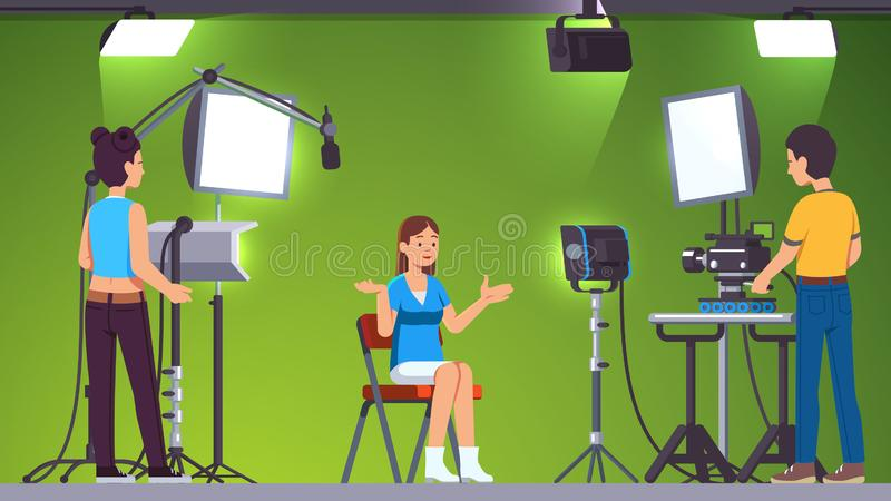 Tv presenter, cameraman, assistant in green studio. Television presenter, cameraman, assistant working in green screen studio with stage lighting equipment royalty free illustration