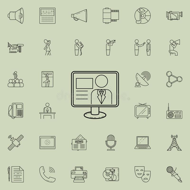 TV presenter icon. Detailed set of Media icons. Premium quality graphic design sign. One of the collection icons for websites, web. Design, mobile app on vector illustration