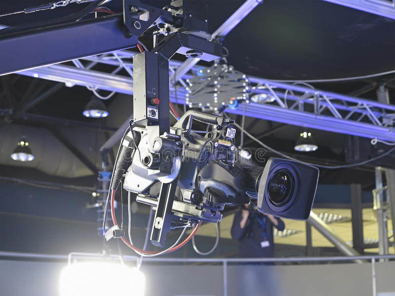TV Professional studio digital video camera in a television stu royalty free stock photo