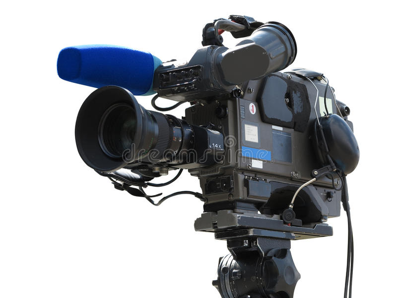 TV Professional studio digital video camera on tripod isolated o royalty free stock images