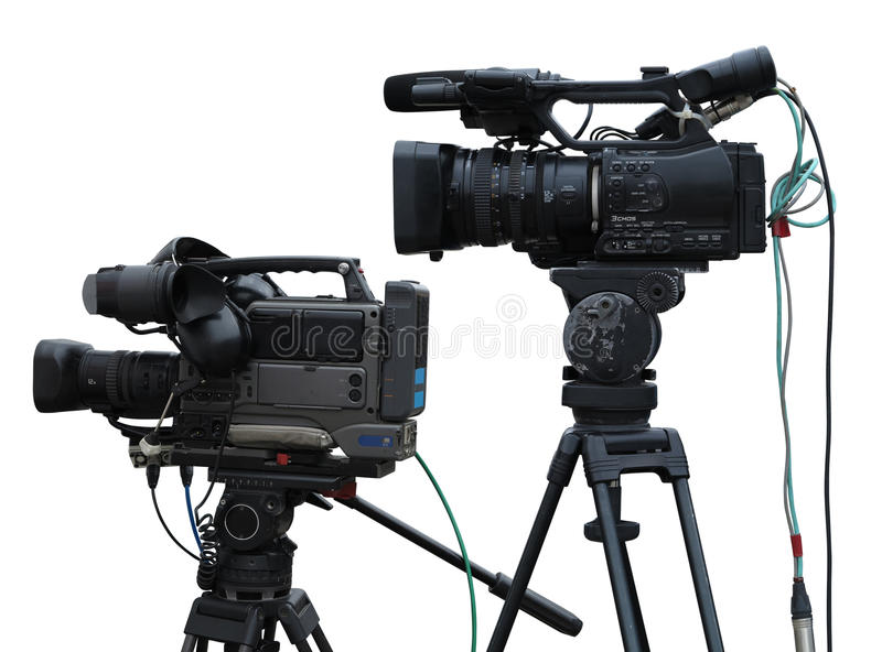TV Professional studio digital video cameras isolated on white royalty free stock image