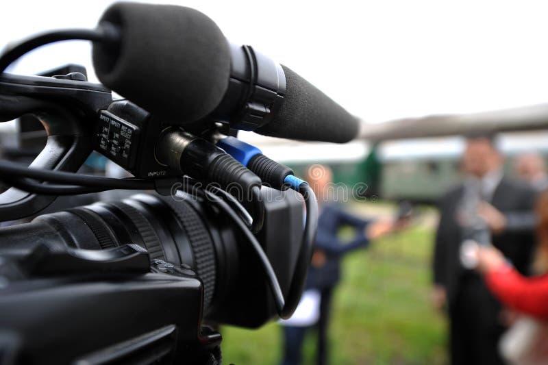 TV przy konferencją prasową fotografia stock