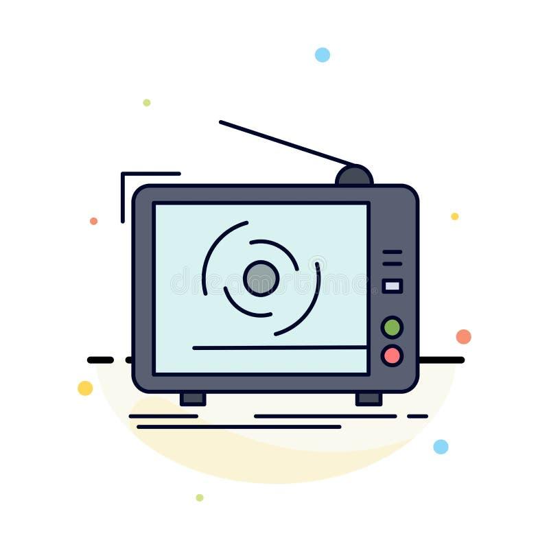 tv, reklama, reklama, telewizja, ustawia Płaskiego kolor ikony wektor royalty ilustracja