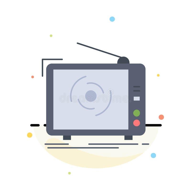 tv, reklama, reklama, telewizja, ustawia Płaskiego kolor ikony wektor ilustracji