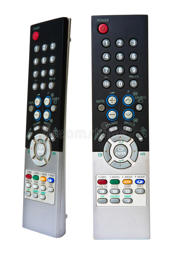 TV remote control. Isolated on white background stock photography