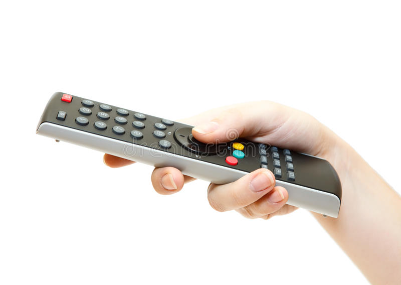 Download TV remote control in hand stock illustration. Image of close - 23651769