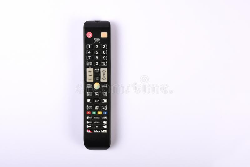 TV remote control, old and dusty remote control isolated on white with copy. TV remote control, old and dusty remote control isolated royalty free stock photos