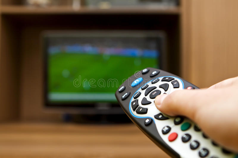 TV Remote Control. Television football. royalty free stock photo