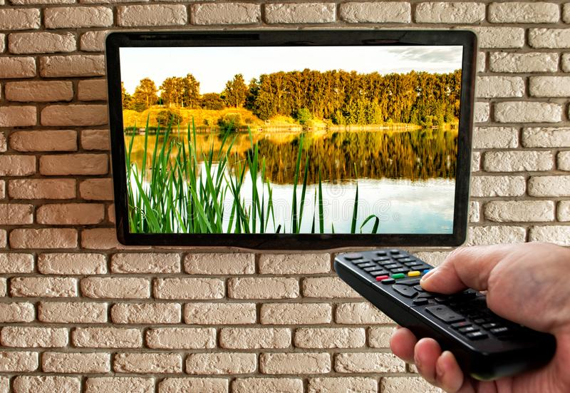 TV remote in hand and TV on decorative brick wall stock image
