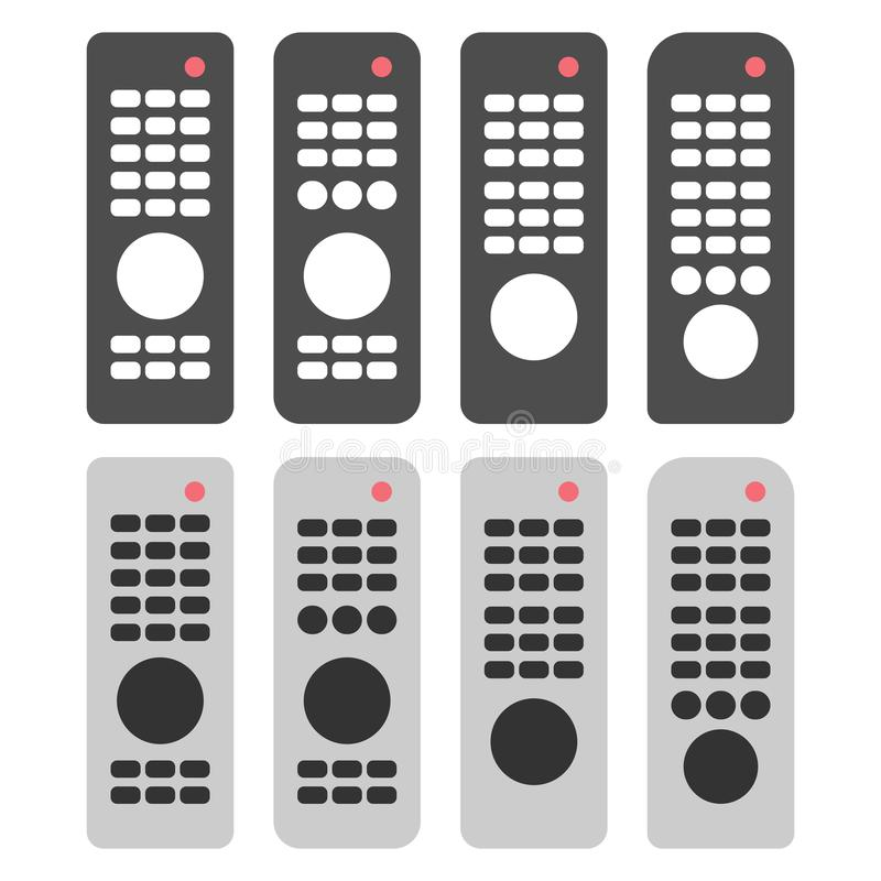 Tv remote set. Dark and light versions. Four variations. Flat design. Isolated on white stock illustration