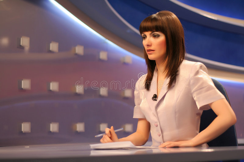 TV reporter in studio royalty free stock image