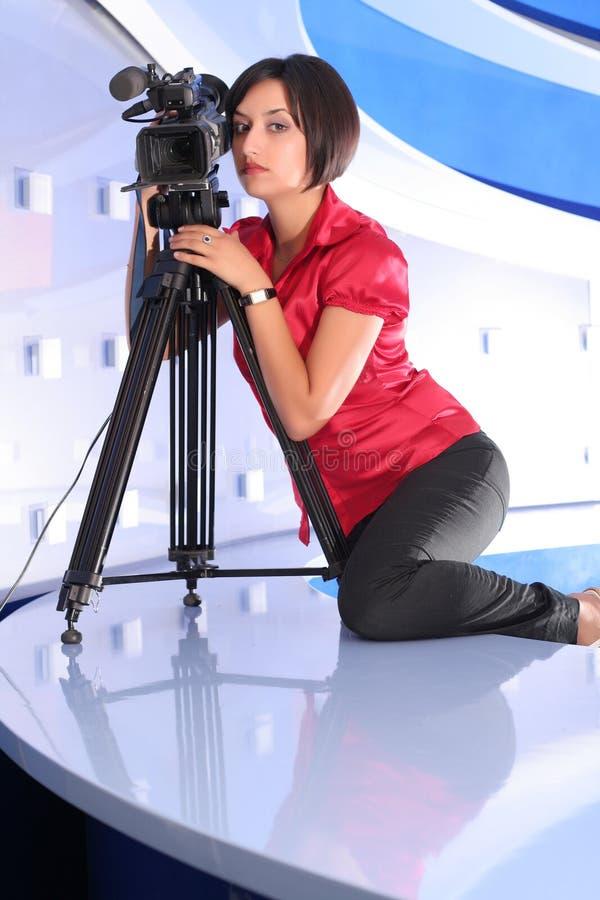 TV reporter in studio royalty free stock image