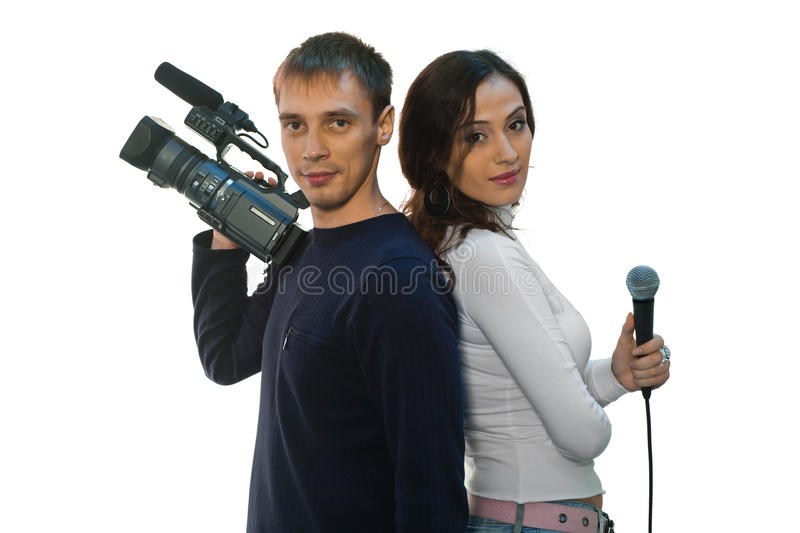 TV reporter and teleoperator. Picture of TV reporter and teleoperator stock photos