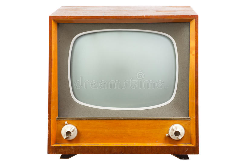 TV retra con el caso de madera imagen de archivo