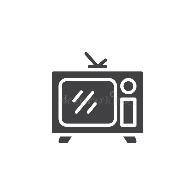 TV retra con el icono del vector de la antena stock de ilustración