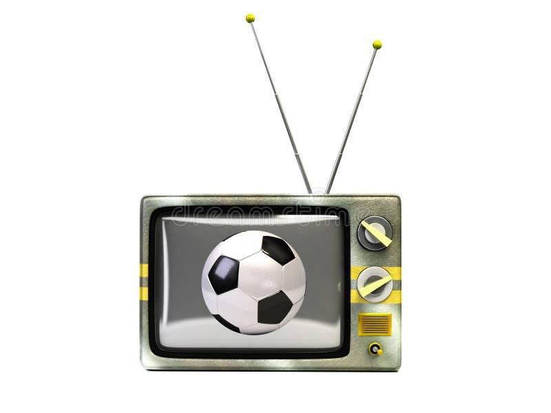 TV retra con estilo con el balón de fútbol imágenes de archivo libres de regalías