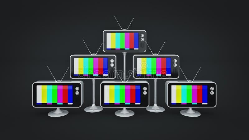 TV retra con un vintage de la antena representación 3d ilustración del vector