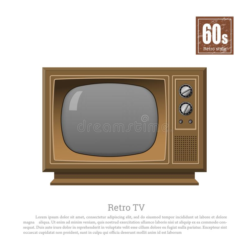 TV retra en estilo realista en el fondo blanco Sintonizador viejo de la televisión Tecnologías de 60s Exhibición análoga marrón d ilustración del vector