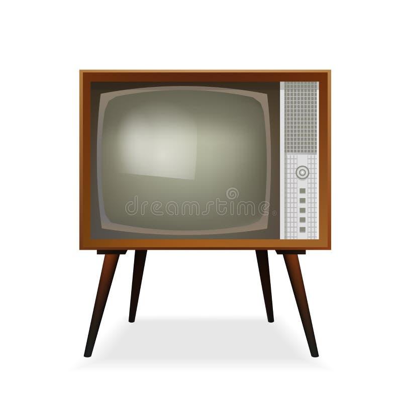 TV retra Vendimia TV Viejo aparato de TV Ilustración del vector Aislado en el fondo blanco stock de ilustración