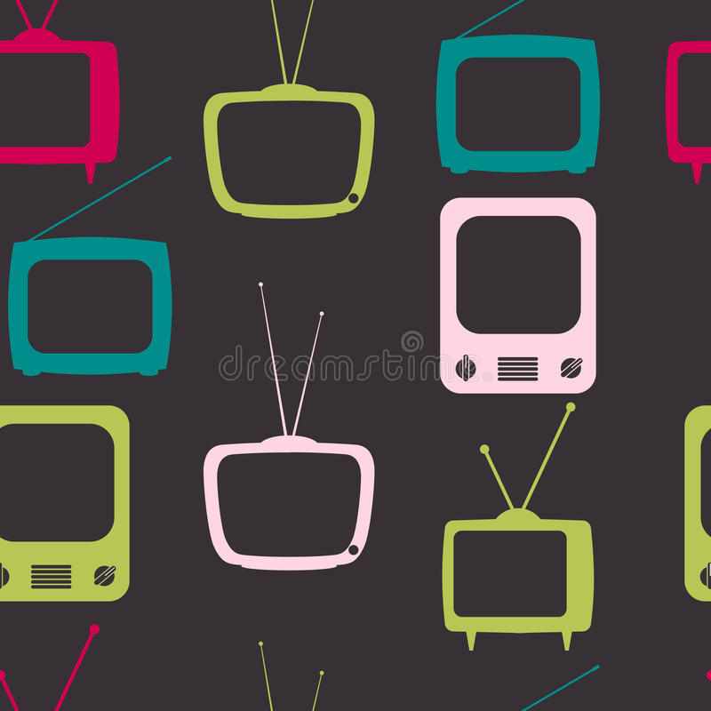 Tv retro seamless pattern. Colorful abstract dark background. Collection of Retro Devices on blue background vector illustration