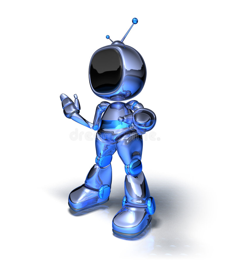 Tv robot. 3d generated picture with lightwave stock illustration