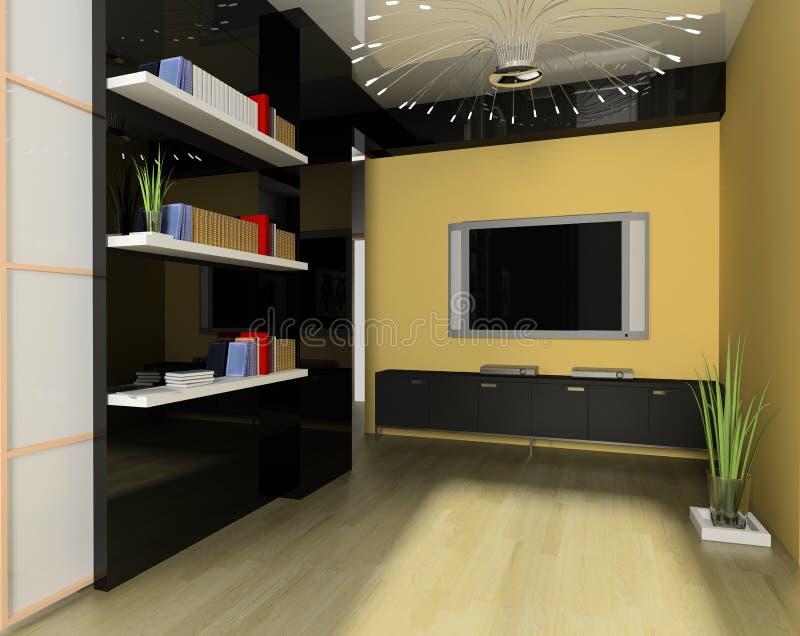 Tv room. Modern interior white drawing tv room vector illustration