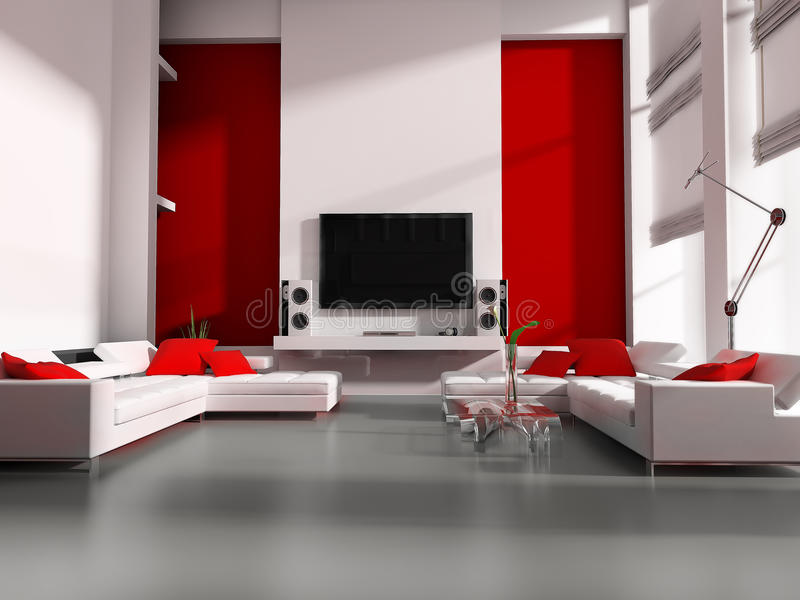 Tv room. Modern interior white drawing tv room