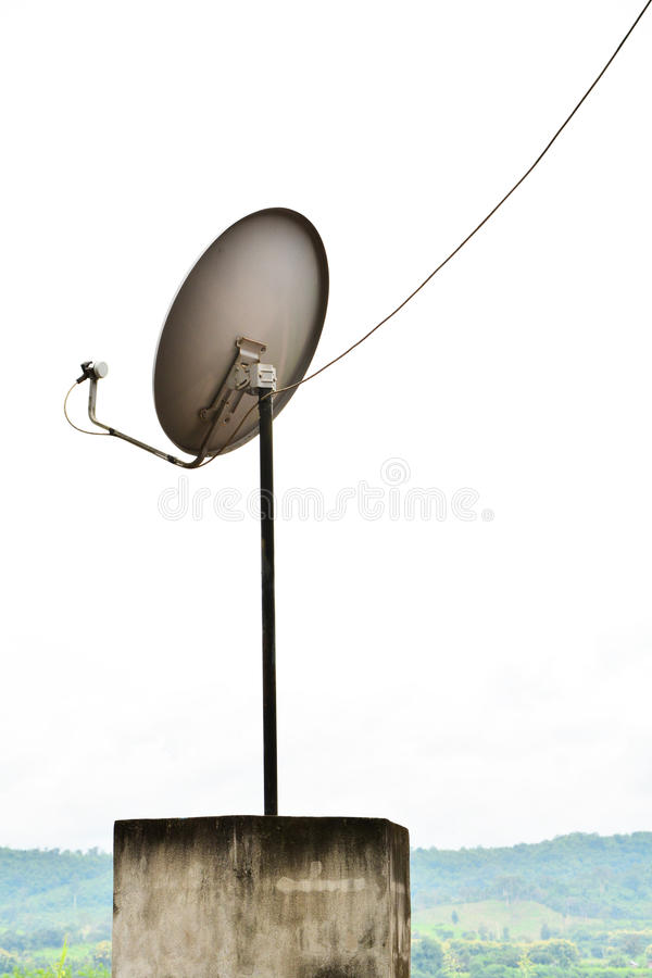 TV Satellite Dish. Mounted on outdoor stock photo