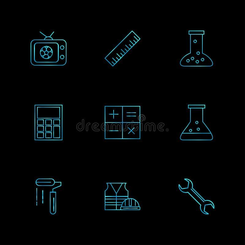 TV, schaal, beker, calculator, wiskunde, chemische fles, verf vector illustratie
